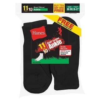 Hanes EZ-Sort Boys' Crew Socks 11-Pack (Includes 1 Free Bonus Pair)