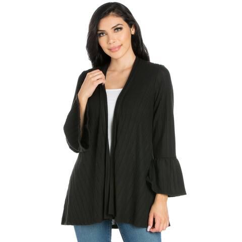24seven Comfort Apparel Bell Sleeve Womens Open Front Cardigan