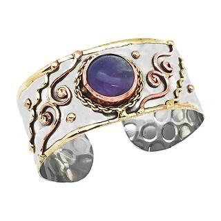Anju Jewelry Women's Dramatic Gemstone and Metal Cuff - Amethyst Bracelet