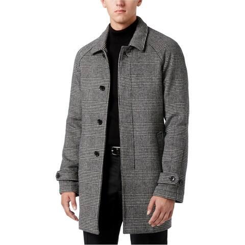 Michael Kors Mens Plaid Overcoat Dress, grey, 42 Regular - 42 Regular