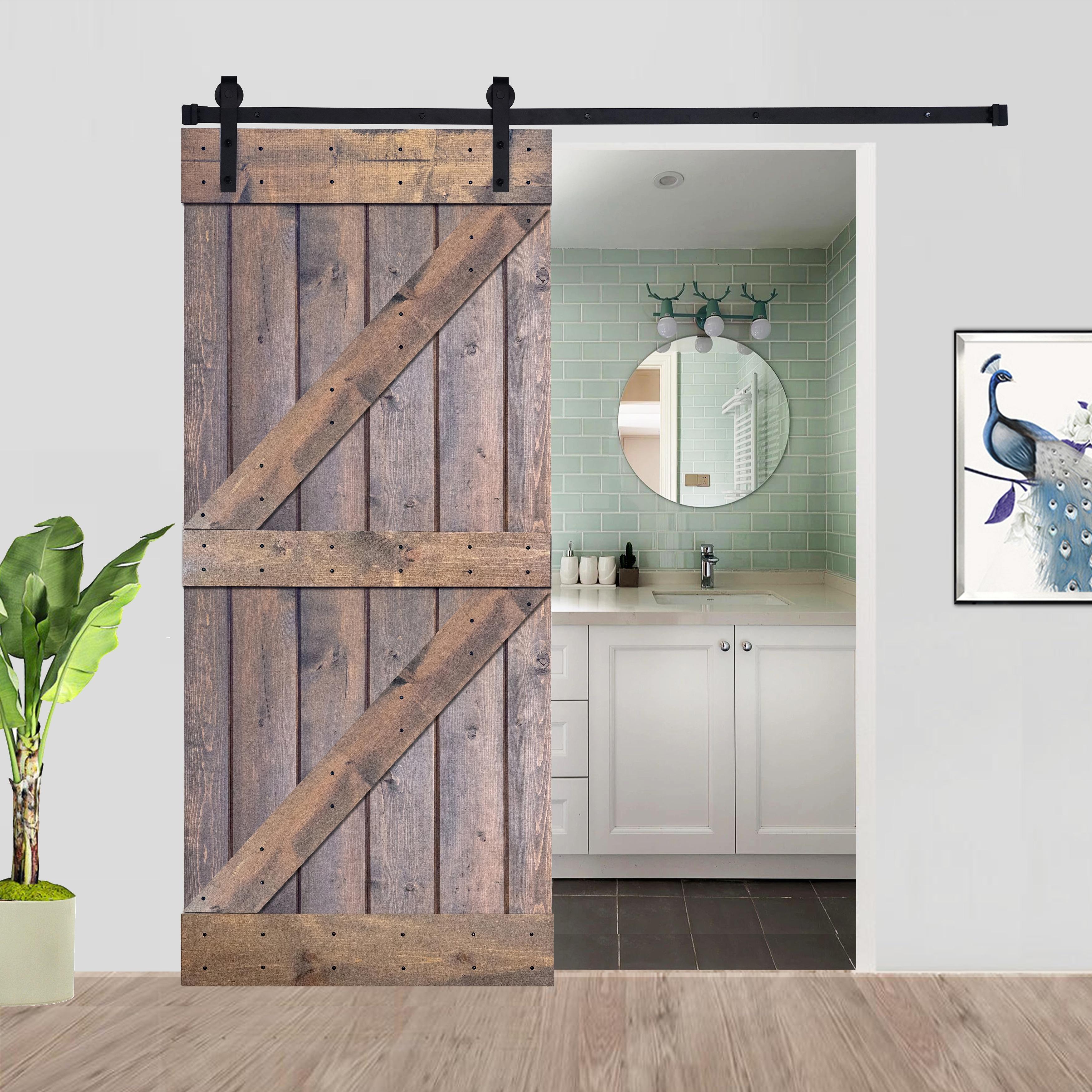 Paneled Wood Barn Door With Installation Hardware Kit K4 Series Overstock 31705831