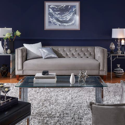 Silver Orchid Bergere Jewel-tuft Grey Velvet Seating with Nailhead
