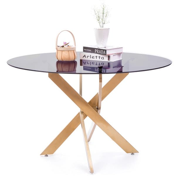 Round Smoked Glass Gold Stainless Steel Metal Modern Dining Table Overstock 29890688