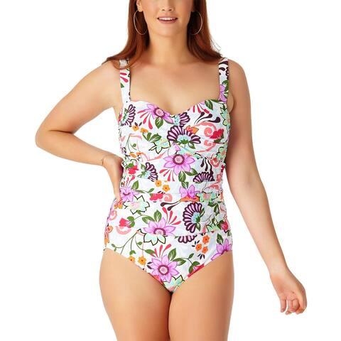 bdb9abc03ecf0 Anne Cole Womens Plus Size Fleetwood Floral Bandeau One-Piece Swimsuit 22W  Multi