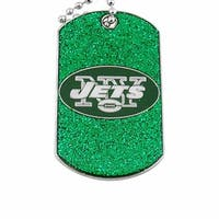 New York Jets Dog Fan Tag Glitter Necklace