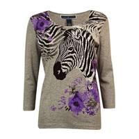 Karen Scott Women's Studded Zebra Knit Top - smoke grey heather