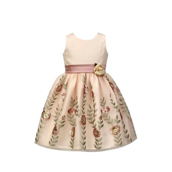 00f2d6bce2 Sorbet Pink Girls Size 6x Plus Floral Embroidered Sequin Sash Dress