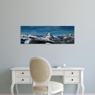 Easy Art Prints Panoramic Images's 'Snow on mountains, Matterhorn, Valais, Switzerland' Premium Canvas Art