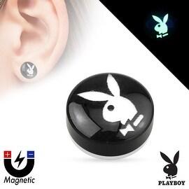 {PB Bunny/Black BG} Playboy Bunny Logo Top Dome Acrylic Non Piercing Magnetic Plug (Sold Individually)