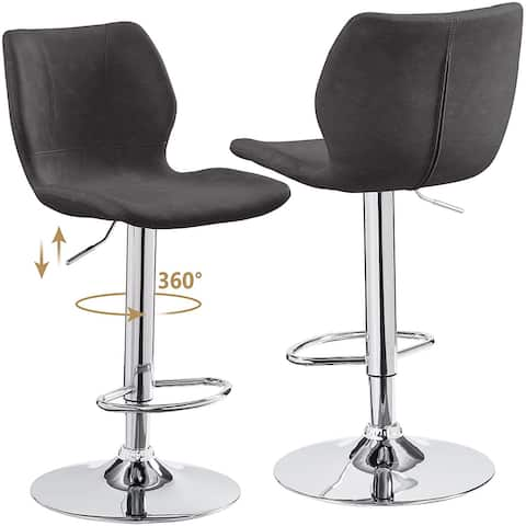 Bar Stools with Back Adjustable Modern, Bar Chairs Set of 2 Square PU Leather, Counter Height Swivel Stools for Kitchen Counter