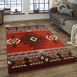 """Allstar Rust Woven High Quality High Density Double Shot Drop-Stitch Carving (5' 2"""" x 7' 2"""")"""