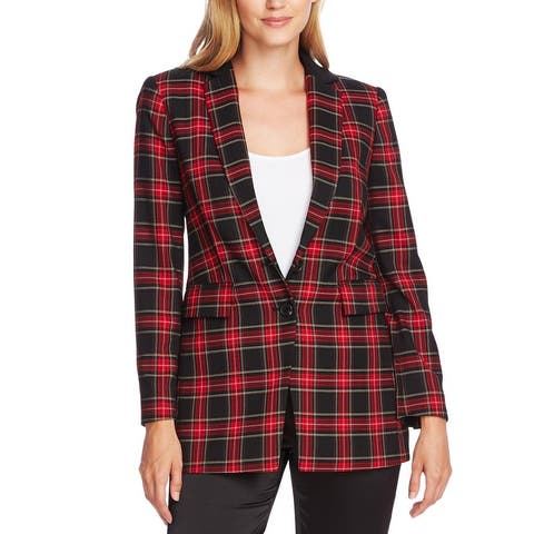 Vince Camuto Womens Two-Button Blazer Plaid Business - Tulip Red