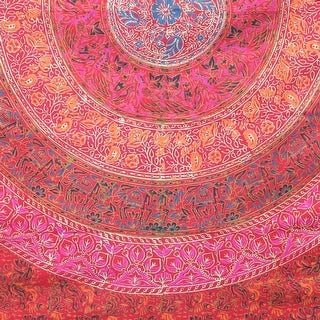 Handmade 100% Cotton Sanganer Mandala Tapestry Spread Queen 108x108 Red