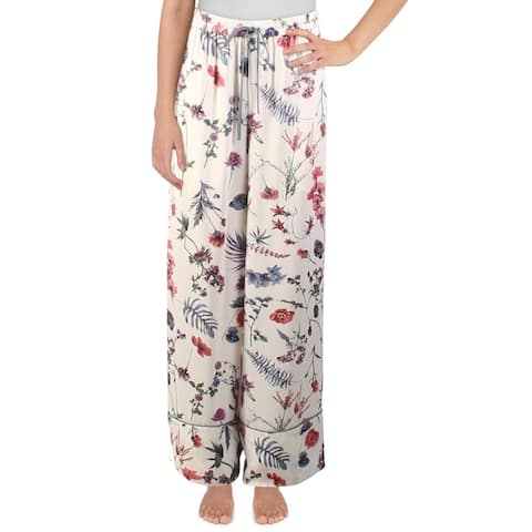 BCBGMAXAZRIA Womens Sleep Pant Floral Print Comfy - White Multi Wildflower