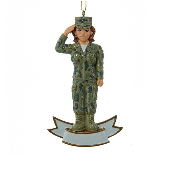 """4.25"""" U.S. Female Army Soldier Saluting in Uniform Decorative Christmas Ornament for Personalization - green"""