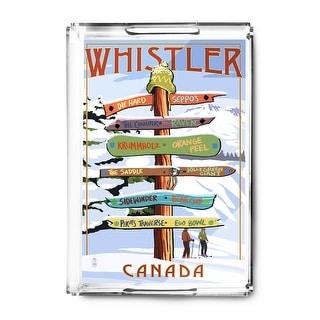 Whistler, Canada - Ski Runs Signpost - Lantern Press Artwork (Acrylic Serving Tray)