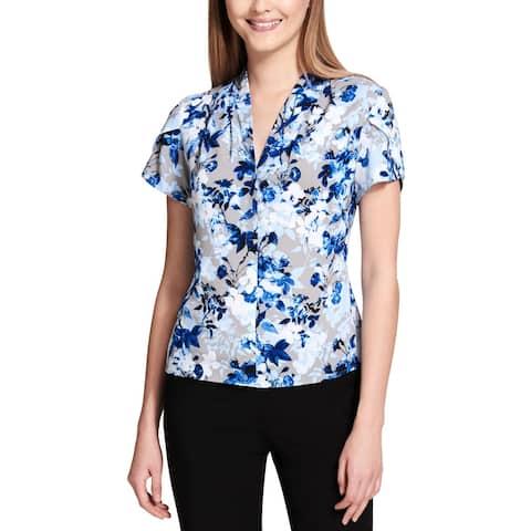 Calvin Klein Womens Blouse Floral Print Flutter Sleeves - M