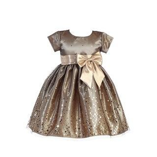 Lito Little Girls Gold Polka Dot Tulle Shiny Satin Bow Christmas Dress