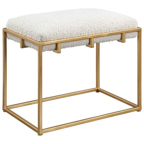 Uttermost Paradox Gold and White Small Shearling Bench