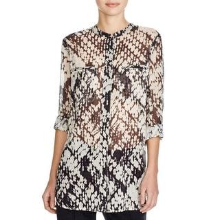 Vince Womens Button-Down Top Silk Basketweave Print - 8