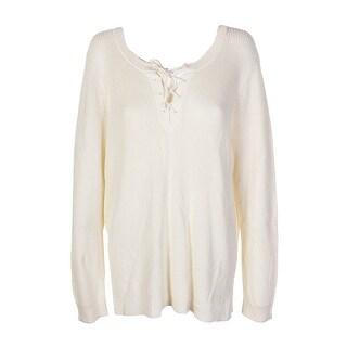 Lauren Ralph Lauren Plus Size Ivory Lace-Up Sweater 2X