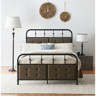 Matte Black Industrial Flavor Bed Frame With Sponge Filling Headboard