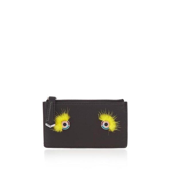 Fendi Black Leather Monster Eyes Mink Fur Cardholder Wallet