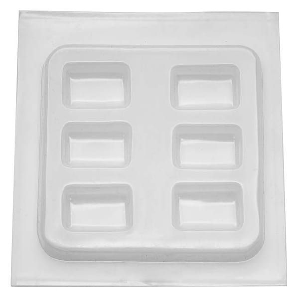 Resin Epoxy Mold For Jewelry Casting - 6 Rectangles 1 x 1 1/2 Inch