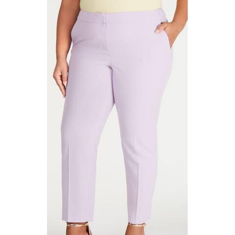 Bar III Women's Dress Pants Lavender Purple Size 14W Plus Stretch