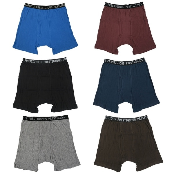 Men 6 Pack Solid Color Printed Waist Band Cotton Boxer Brief