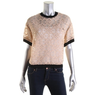DKNY Womens Lace Contrast Trim Pullover Top - M