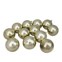 "12ct Champagne Gold Shatterproof Shiny Christmas Ball Ornaments 4"" (100mm)"