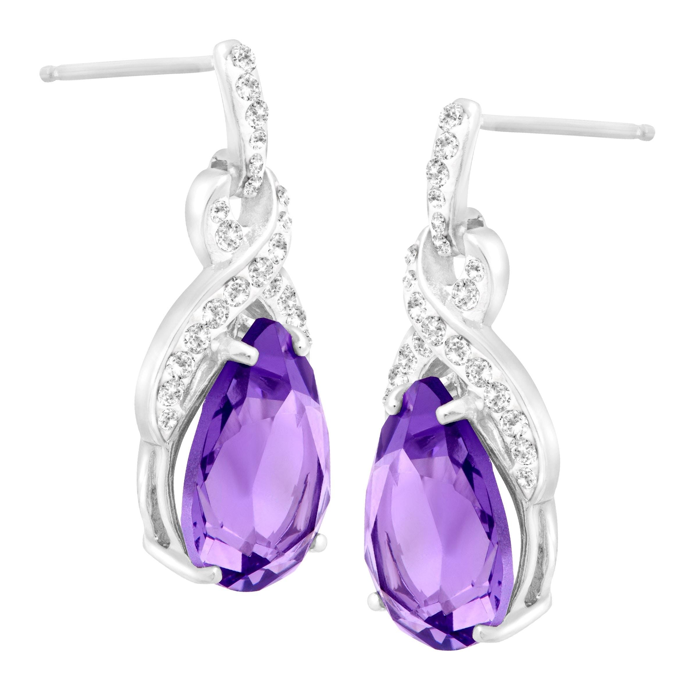 Crystaluxe Drop Earrings With Purple