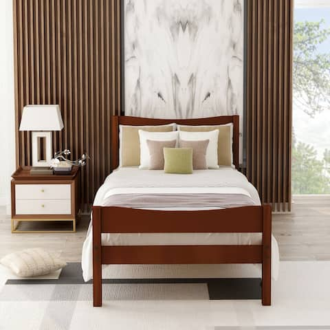 Wood Platform Bed with Headboard and Wooden Slat Support (Walnut)