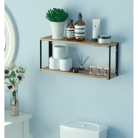 "Wallniture Roca 24"" Wooden Wall Shelf for Bathroom Organization and Storage, 2-Tier, Natural Burned"