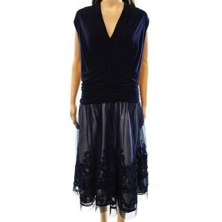 SLNY NEW Blue Women's Size 16W Plus Sheath Soutache Ruched Mesh Dress