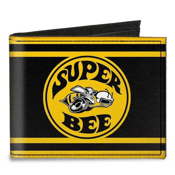 Super Bee Logo Stripes Black Yellow Canvas Bi Fold Wallet One Size - One Size Fits most