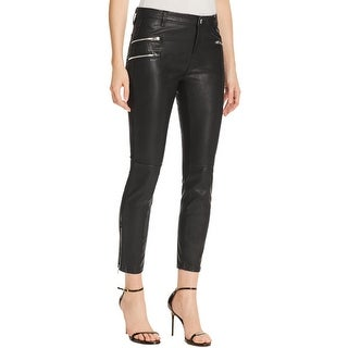 Blank NYC Womens Skinny Pants Faux Leather Zipper Pockets