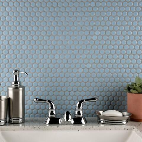 "SomerTile Hudson Penny Round Cashmere Blue 12"" x 12.63"" Porcelain Mosaic Tile"