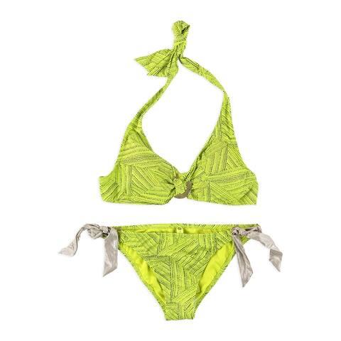 Raisins Womens Paparazzi Soft Tie 2 Piece Bikini, green, Small