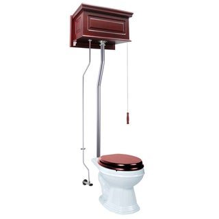 Cherry Wood Raised High Tank Pull Chain Toilet White Elongated Satin Rear Entry