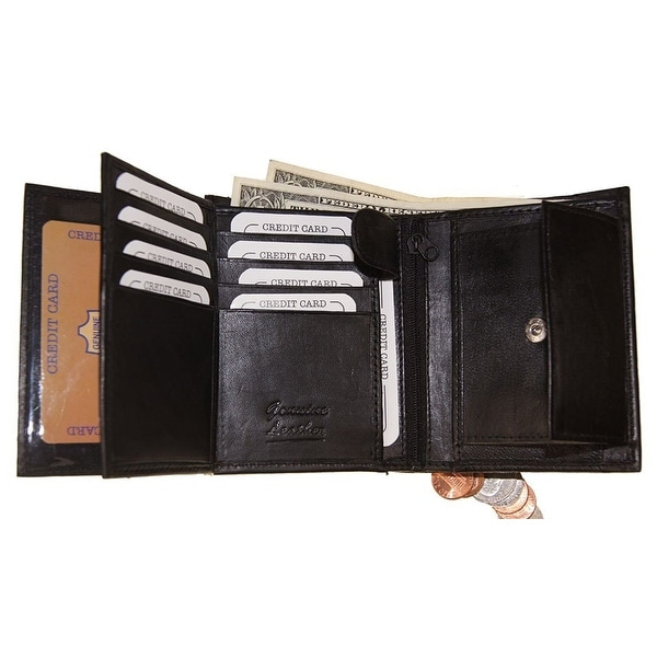 Improving Lifestyles SUN 1318 BK Men's Leather Bi Fold Wallet, Black with Organza Gift Bag, Black, One Size