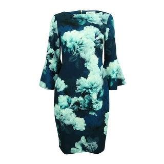 Calvin Klein Women's Floral-Print Bell-Sleeve Sheath Dress - cypress multi