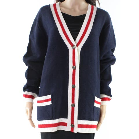 Wayf Womens Large Cardigan Varsity-Stripe Sweater
