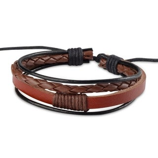Zodaca Unisex Brown/ Black Fashion Handmade Multi-strip Leather Braided Bracelets