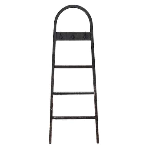 """68"""" Black Solid Ladder Towel Stand with Hooks"""