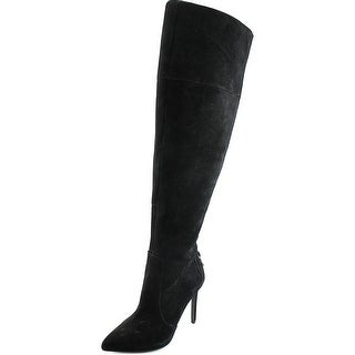 Jessica Simpson Parii Women Pointed Toe Suede Black Over the Knee Boot