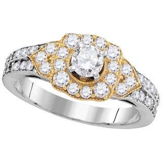 14kt White Gold Womens Round Natural Diamond 2-tone Bridal Wedding Engagement Ring 1.00 Cttw