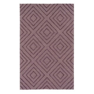 9' x 13' Lush Diamonds Eggplant Purple and Platinum Gray Hand Hooked Area Throw Rug