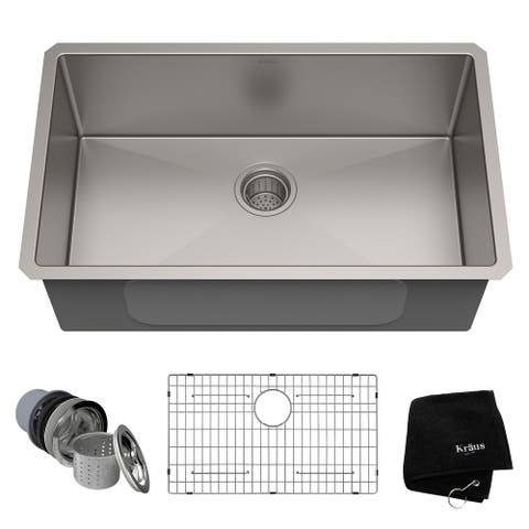 KRAUS Standart PRO Undermount Single Bowl Stainless Steel Kitchen Sink